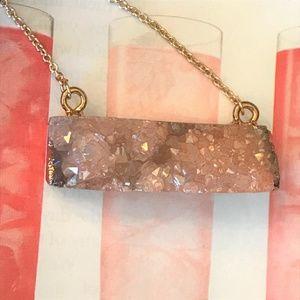 Jewelry - Sparkly Peach Druzy Bar Necklace